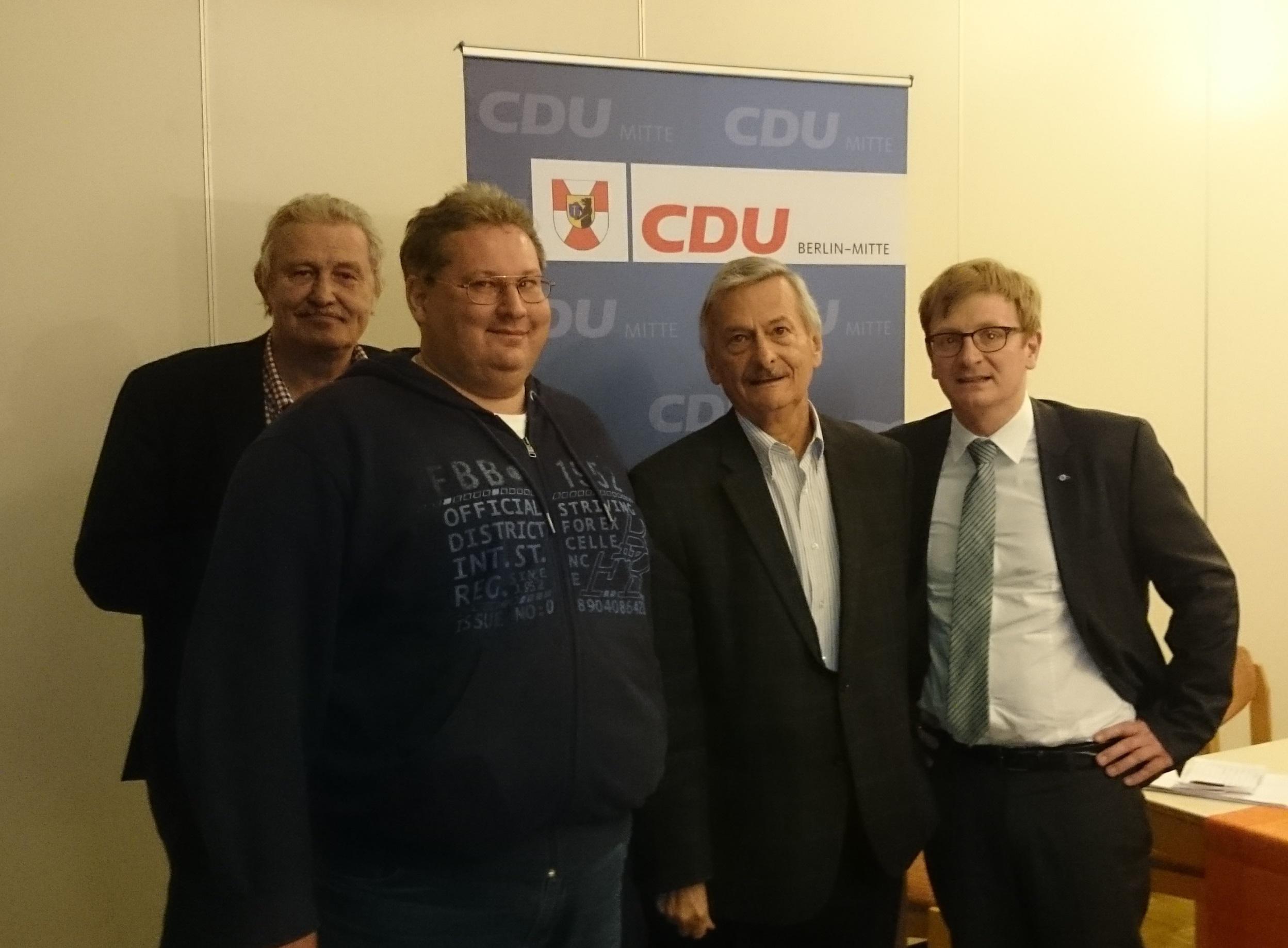 V.l.n.r. Klaus Kundt, Martin Leuschner, Volker Liepelt, Dr. Philipp Lengsfeld MdB