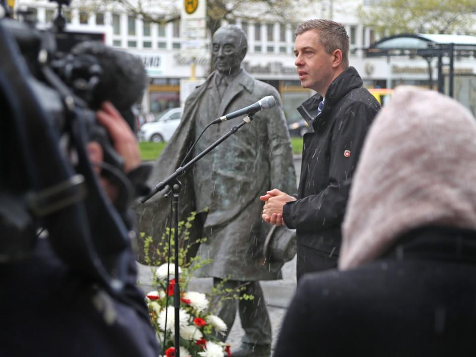 Der Generalsekretär der CDU Berlin, Stefan Evers, bei der Gedenkveranstaltung zu Ehren Konrad Adenauers am 19. April 2017. Foto: CDU Berlin.