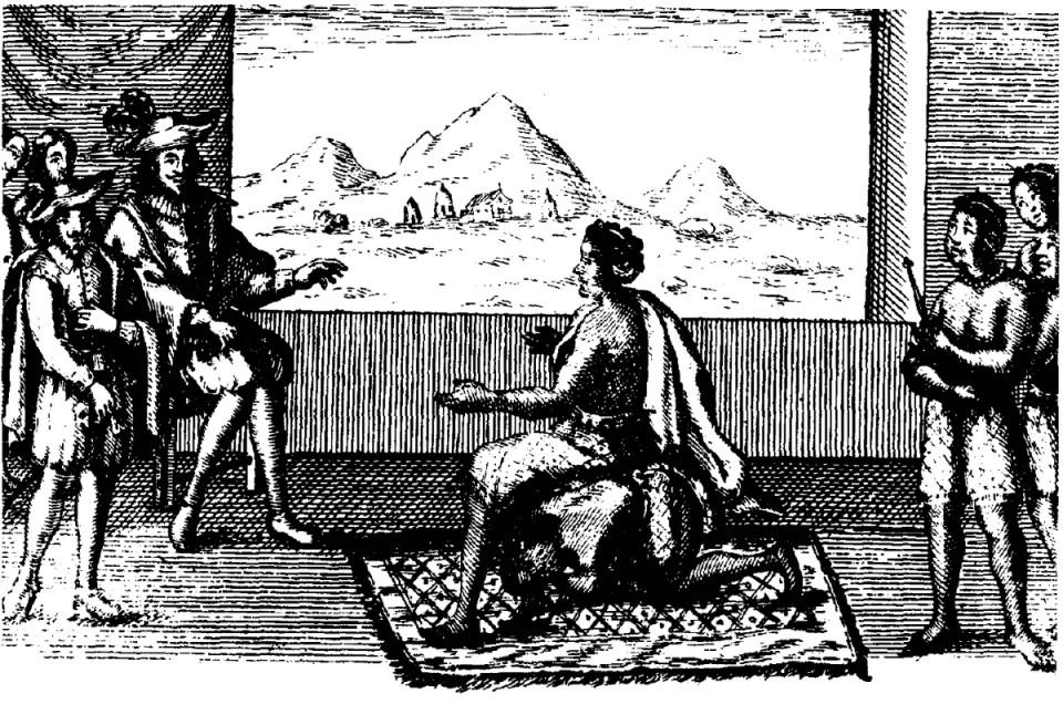 Königin Nzinga verhandelt mit einem portugisischen Abgesandten. 1657. Quelle: Wikimedia Commons / gemeinfrei